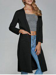 Front Pocket Long Sleeve Kimono Long Cardigan