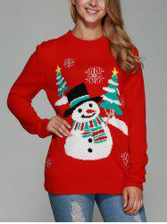 Christmas Snowman Pattern Sweater - RED