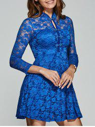 Hollow Out Frog Button Lace Dress -