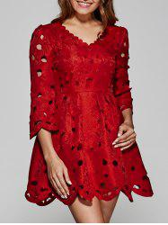 Wave Cut Openwork Lace Dress - RED