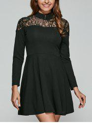 Lace Spliced Swing Dress
