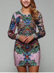Long Sleeve Retro Print Mini Dress - PINK L