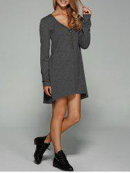 Button Embellished Asymmetrical Dress - GRAY
