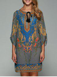 3/4 Sleeve Ornate Printed Shift Dress -