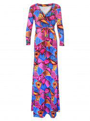V-Neck Ornate Geometric Pattern Dress