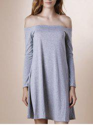 Off The Shoulder Long Sleeve Plain Dress