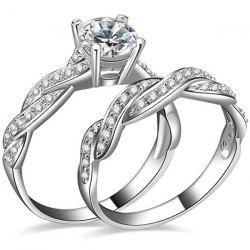 2 Pcs Twist Rhinestone Rings - SILVER