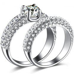 2 Pcs Polished Curvy Rhinestone Rings -