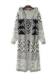 Vintage Geometric Pattern Hooded Cardigan