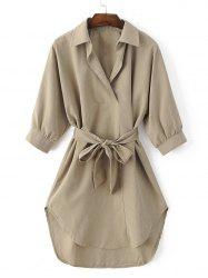 Turn-Down Collar Belted High-Low Hem Shirt Dress - KHAKI XL