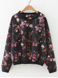 Floral Loose-Fitting Pullover Sweatshirt -