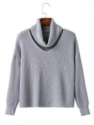 Cut Out Neck Drop Shoulder Pullover Sweater -