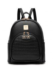 Metallic Flowers Crocodile Embossed PU Leather Backpack - BLACK