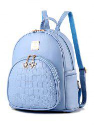 Metallic Flowers Crocodile Embossed PU Leather Backpack - BLUE