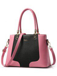 PU Leather Metal Embellished Color Block Tote - PINK