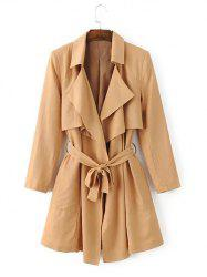 Tie Belt Overlay Wrap Trench Coat