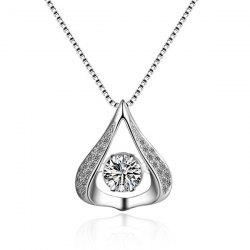 Openwork Teardrop Rhinestone Necklace - SILVER WHITE