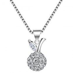 Rhinestone Leaf Fruit Ball Necklace