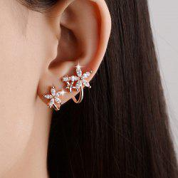 Polished Rhinestone Flowers Earrings
