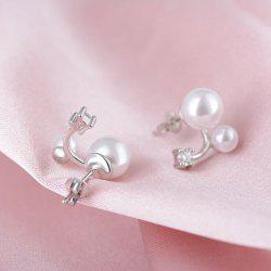 Double Faux Pearl Rhinestone Earrings - PEARL WHITE
