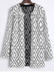 Color Block Rhombus Jacquard Cardigan -