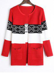 Front Pocket Ribbed Color Block Cardigan -