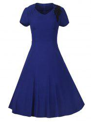 Vintage High-Waist Embroidery Zippered Dress - SAPPHIRE BLUE M
