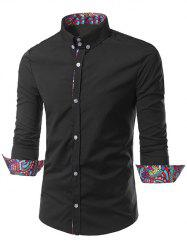 Turn-Down Collar Ethnic Style Pattern Splicing Button-Down Shirt
