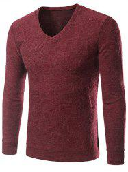 V-cou à manches longues Knitting Sweater -