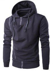 Hooded Double Zipper Design Hoodie