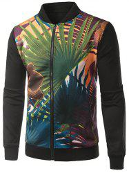Palm Frond Print Rib Splicing Stand Collar Zip-Up Jacket -