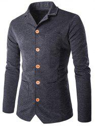 Col rabattu single-breasted poches design Jacket - gris foncé M