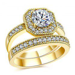 Double Layered Rounded Rectangle Rings - GOLDEN 8