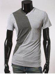 Button Embellished V Neck Short Sleeve T-Shirt - LIGHT GRAY 2XL