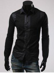 Turn-Down Collar Splicing Long Sleeve Shirt - BLACK L