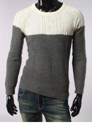 Geometric Jacquard Color Spliced Long Sleeves Sweater - DEEP GRAY 2XL