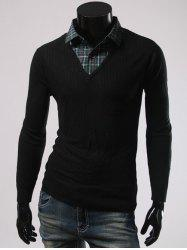 Faux Twinset Plaid Printed Turn-Down Collar Sweater - BLACK