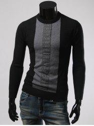 Color Splicing Round Collar Long Sleeve Sweater -