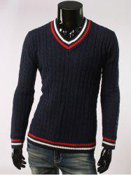 Stripes Pattern Cable Knit V Neck Sweater