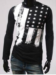 Long Sleeve Slim Fit Stars Printed T-Shirt
