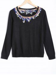 Long Sleeve Jacquard Pullover Sweater -
