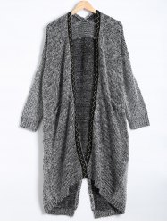 Pocket Design Wave Pattern Slit Long Cardigan