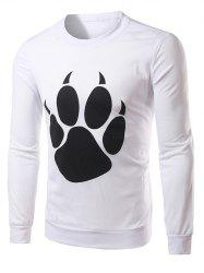 Bear Paw Print Long Sleeve Crew Neck Sweatshirt