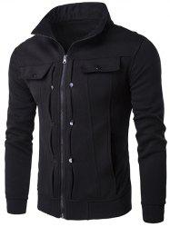 Stand Collar Buttoned Pleated Zip Up Jacket - BLACK