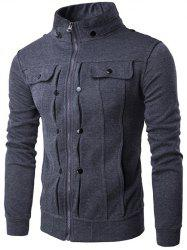 Stand Collar Buttoned Pleated Zip Up Jacket - DEEP GRAY