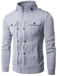 Stand Collar Buttoned Pleated Zip Up Jacket -