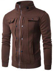 Stand Collar Buttoned Pleated Zip Up Jacket - COFFEE 2XL