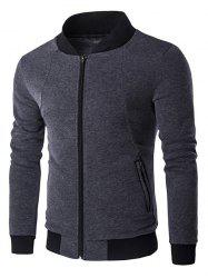 Stand Collar Rib Inset Zip Up Jacket -