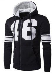 Striped Sleeve Zip Up Graphic Hoodie