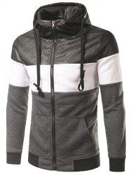 Faux Leather Insert Drawstring Cool Zip Up Hoodies for Men - DEEP GRAY 2XL